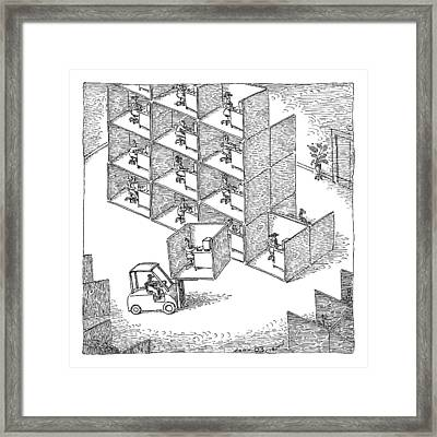 A Forklift Lifts A Cubicle And Moves To Stack Framed Print by John O'Brien