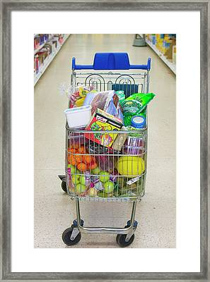 A Full Trolley Of Food Framed Print by Ashley Cooper