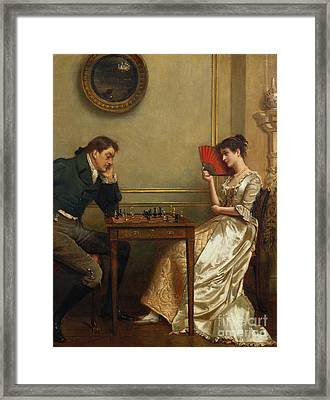 A Game Of Chess Framed Print by George Goodwin Kilburne