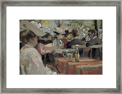 A Garden Restaurant Framed Print by August Heitmuller