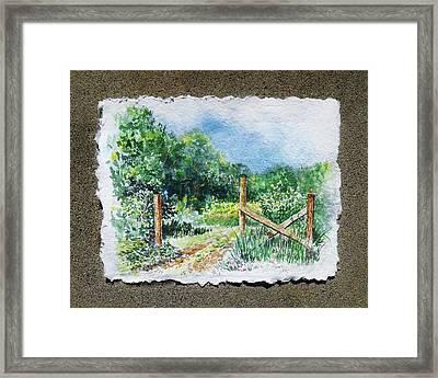 A Gate To The Ranch Briones Park California Framed Print by Irina Sztukowski