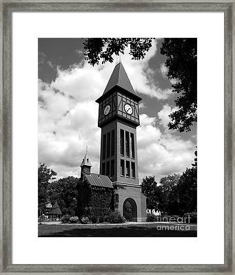 A German Bell Tower Bw Framed Print by Mel Steinhauer