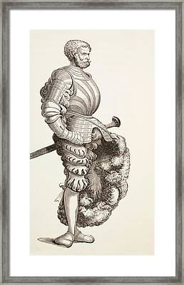 A German Knight, From Military And Religious Life In The Middle Ages By Paul Lacroix Framed Print by French School