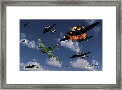 A German Me 262 Jetfighter Attacking Framed Print by Mark Stevenson