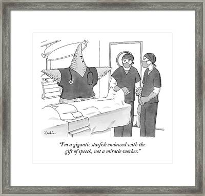 A Giant Starfish In An Operating Room Framed Print by Charlie Hankin