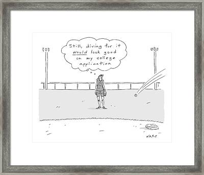 A Girl In A Baseball Field Thinks To Herself Framed Print by Kim Warp