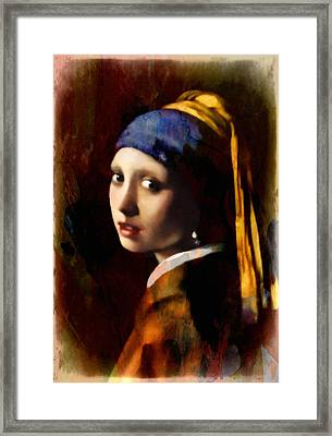 A Girl With A Pearl In Autumn Framed Print by Georgiana Romanovna