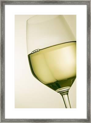 A Glass Of White Wine Framed Print by Richard Desmarais