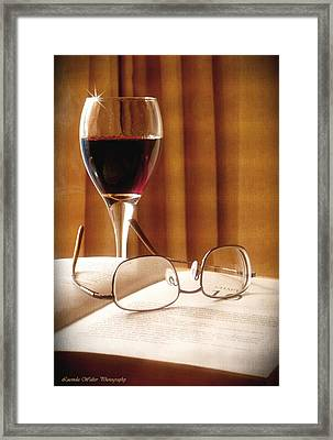 A Good Book And A Glass Of Wine Framed Print by Lucinda Walter