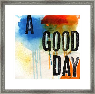 A Good Day- Abstract Painting  Framed Print by Linda Woods