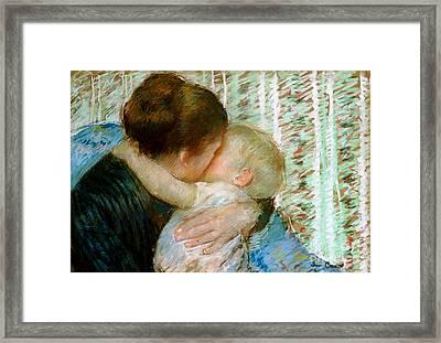 A Goodnight Hug  Framed Print by Mary Stevenson Cassatt