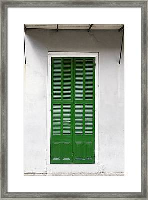 A Green Door In New Orleans Framed Print by Christine Till