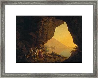 A Grotto In The Kingdom Of Naples, With Banditti, Exh. 1778 Framed Print by Joseph Wright of Derby