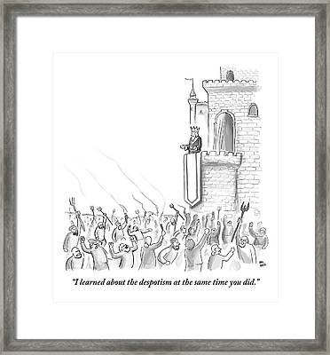 A Group Of Angry Townspeople Rebel Framed Print by Paul Noth