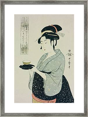 A Half Length Portrait Of Naniwaya Okita Framed Print by Kitagawa Utamaro