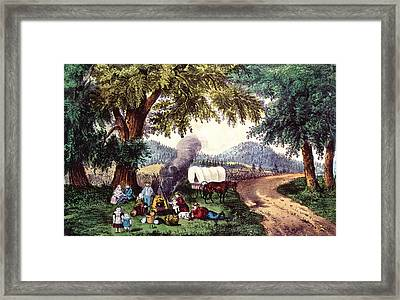 A Halt By The Wayside  Framed Print by Currier and Ives
