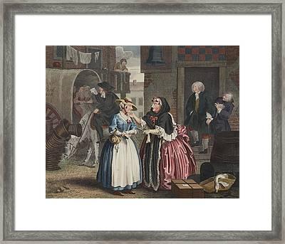 A Harlots Progress, Plate I Framed Print by William Hogarth