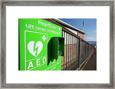 A Heartsafe Defibrillator Framed Print by Ashley Cooper