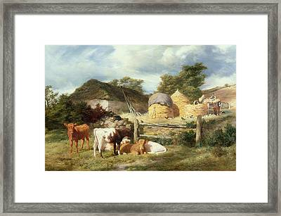 A Highland Croft, 1873 Framed Print by Peter Graham