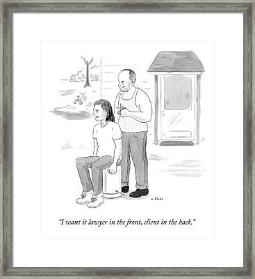 A Hillbilly Barber Gives A Customer A Mullet Framed Print by Emily Flake