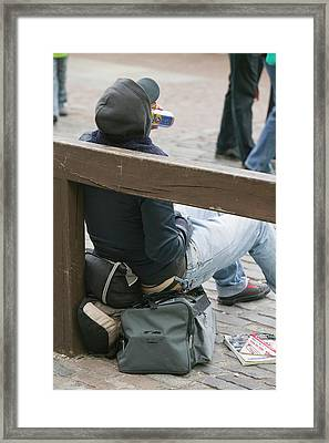 A Homeless Man Drinking Alcohol Framed Print by Ashley Cooper