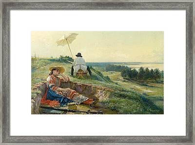 A Hot Summer Day. The Artist At Work Framed Print by Vasili Andreyevich Golynsky