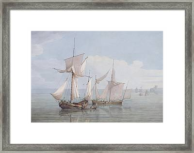 A Hoy And A Lugger With Other Shipping On A Calm Sea  Framed Print by John Thomas Serres