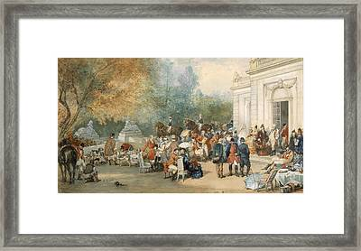 A Hunting Breakfast In England, 1870 Framed Print by Eugene-Louis Lami