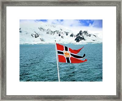 A Hurtigruten Cruise Ship Postal Framed Print by Miva Stock