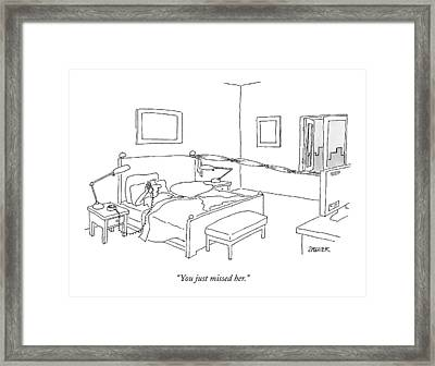 A Husband Speaks On The Phone Framed Print by Jack Ziegler