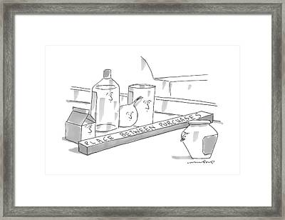 A Jar On A Supermarket Conveyor Belt Is Sticking Framed Print by Michael Crawford