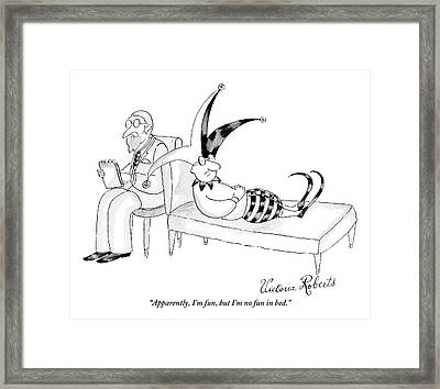 A Jester Lays In A Therapist Couch Framed Print by Victoria Roberts