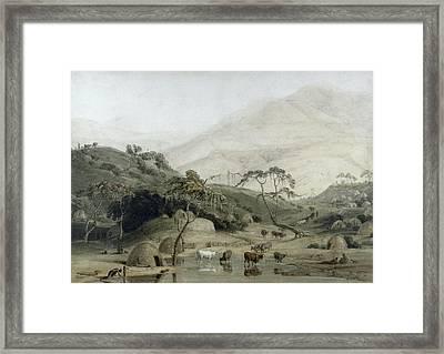 A Kaffir Village, C.1801 Wc & Graphite On Paper Framed Print by Samuel Daniell