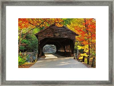 A Kancamagus Gem - Albany Covered Bridge Nh Framed Print by Thomas Schoeller