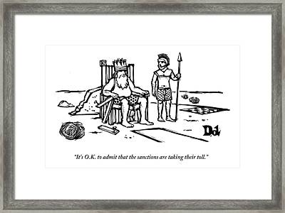 A King Sits Outside In His Boxers On A Wooden Framed Print by Drew Dernavich