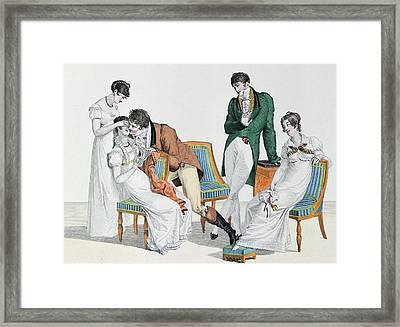 A Kissing Game Framed Print by French School