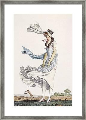 A Ladies Summer Promenade Dress, 1800 Framed Print by Philibert Louis Debucourt
