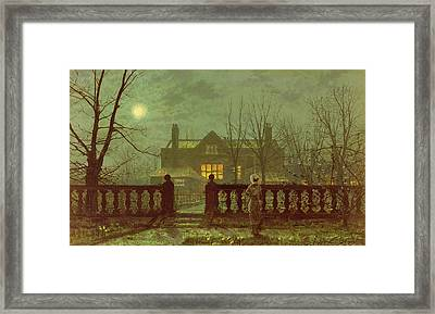 A Lady In A Garden By Moonlight Framed Print by John Atkinson Grimshaw