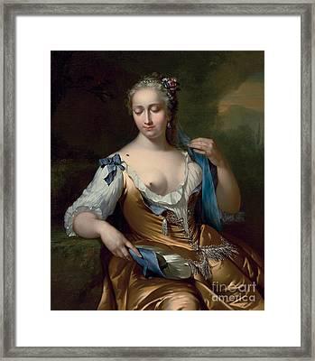 A Lady In A Landscape With A Fly On Her Shoulder Framed Print by Frans van der Mijn
