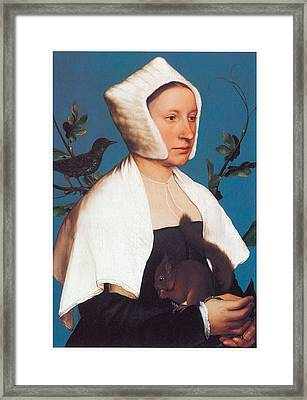 A Lady With A Squirrel And A Starling Framed Print by Hans Holbein the Younger