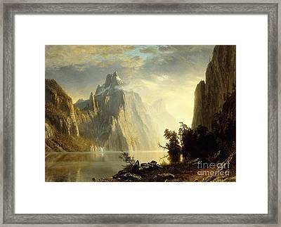 A Lake In The Sierra Nevada Framed Print by Albert Bierstadt