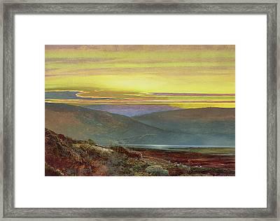 A Lake Landscape At Sunset Framed Print by John Atkinson Grimshaw