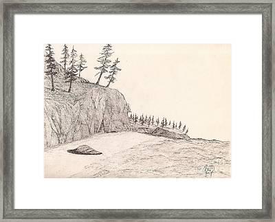 A Lakeshore... Sketch Framed Print by Robert Meszaros