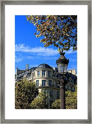 A Lampost Paris France Framed Print by Tom Prendergast