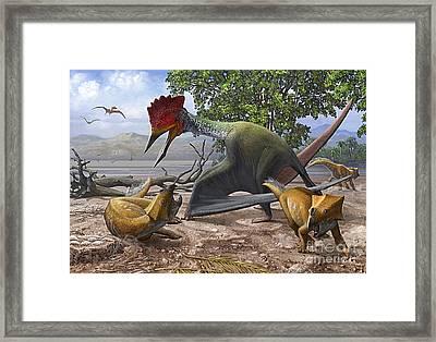 A Large Bakonydraco Pterosaur Attacking Framed Print by Sergey Krasovskiy
