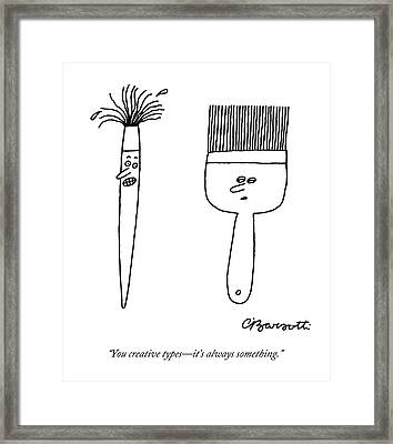 A Large, Neat Paintbrush Talks To A Small Framed Print by Charles Barsotti