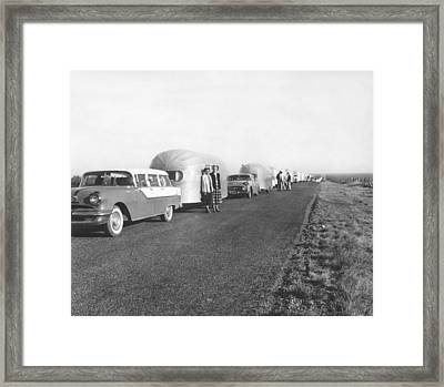 A Line Of Airstream Trailers Framed Print by Underwood Archives
