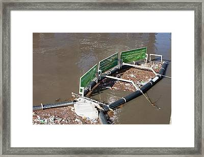 A Litter Trap On The Yarra River Framed Print by Ashley Cooper