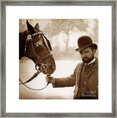 A London Hansom Cab Driver England Framed Print by The Keasbury-Gordon Photograph Archive