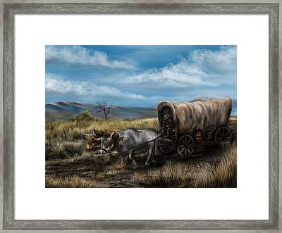 A Long Journey - Covered Wagon On The Prairie Framed Print by Ron Grafe